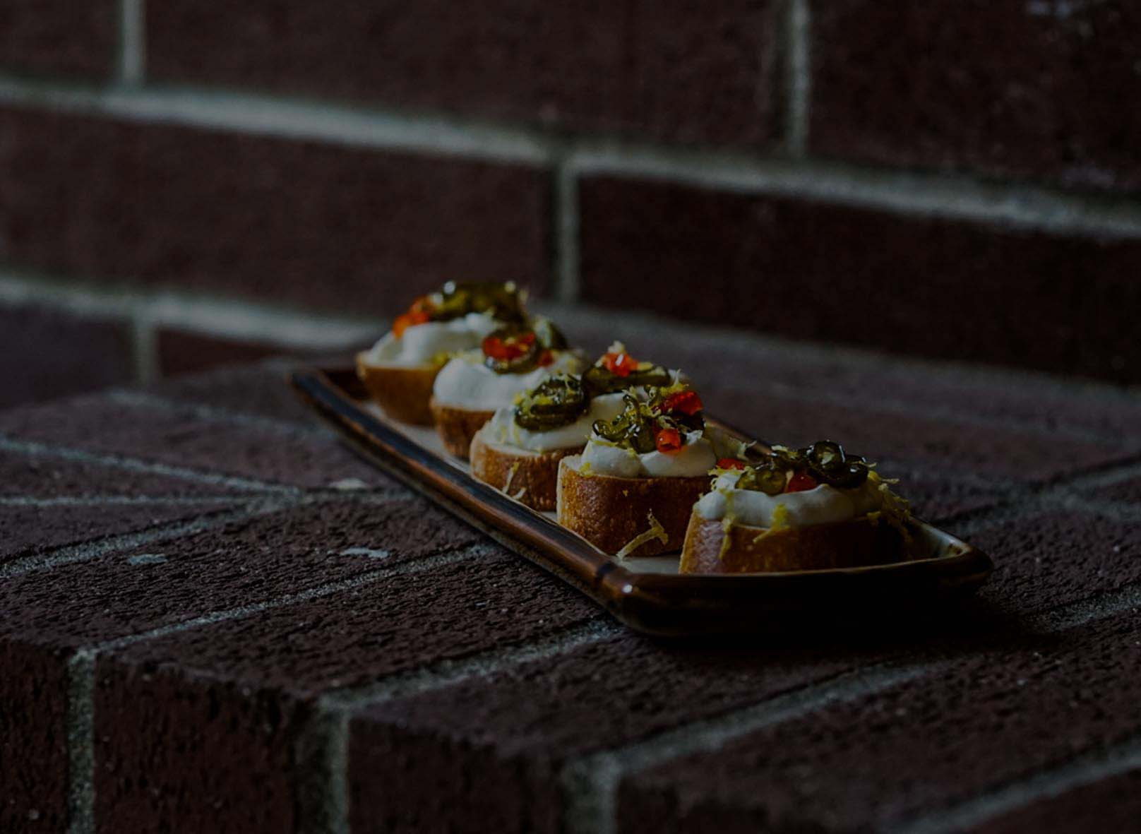 Candied Pepper & Goat Cheese Crostini